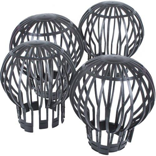 Fallrohrschutz 4er Pack in Grau Fallrohrfilter aus Kunststoff zuverlässiger und wetterfester Dachrinnenschutz Laubfang Laubschutz für alle gängigen Fallrohre Test
