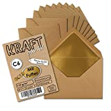 25 Stück I Gold gefütterte Vintage-Umschläge DIN C6 114 x 162 mm Kraft-Papier braun Recycling Nassklebung I Umwelt by Gustav NEUSER®