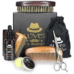Kit de Toilettage de Barbe pour les Hommes, Brosse de Moustache + Revitalisant Barbe Fragrance Sans Huile + Barbe Baume + Barbe Couper, Forme et Croître - 6 set
