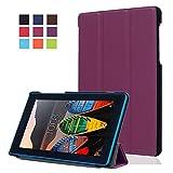 Schutzhülle für Lenovo Tab3 7 Essential - Utra Slim Ledertasche Flip Case Cover Hüllen Tasche für Lenovo Tab 3 710F / Tab 3 7 Essential (7 Zoll) Tablet Lederhülle Etui mit Standfunktion (Lila)