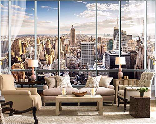 Wandbild Hintergrundbild Tapete 3D Stereo Große Wandbilder Moderne Falsche Fenster Wohnzimmer Schlafsofa Schlafzimmer New York Flash Silber Tuch Tapete 350 * 245 Cm