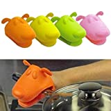 1pcs Kitchen Silicone Heat Resistant Gloves Anti-slip Pot Bowel Holder Clip Cooking Baking Oven Mitts (Color Sent in Random)