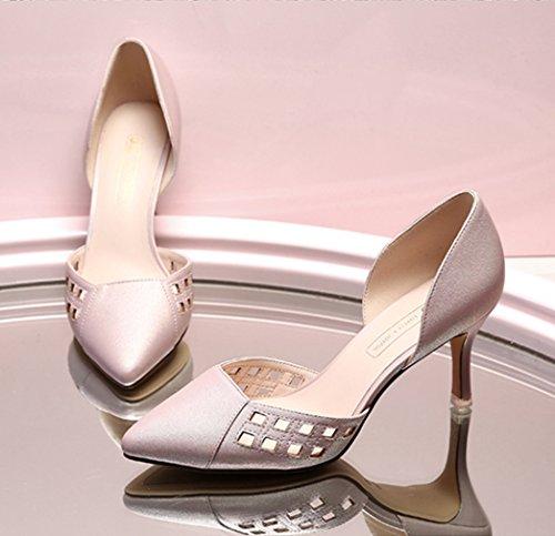 Damen Pumps Spitz Zehen Hohl Atmungsaktiv Süße Stilettos Anti-Rutsche Bequeme Schöne Modische Schuhe Pink