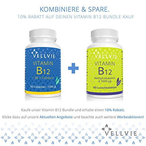 VELLVIE Vitamin B12 – 1000 mcg aktives Methylcobalamin – 180 Tabletten ohne Magnesiumstearat - 2
