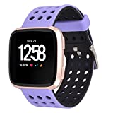 Greatfine para Fitbit Versa Correa de Repuesto, Clásica Silicona Pulsera de Reloj para Fitbit Versa Special Edition Smart Watch Accesorios Bands (New Black Purple)