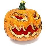 com-four® Deko Halloween Kürbis mit LED, Gruselige Kürbisdekoration, Beleuchtete Laterne, 16 x 16 cm (001 Stück - Kürbis 16 cm)