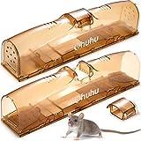Ohuhu Humane Mausefalle Lebend, 2 Stück 30 cm lang Live-Mäusefallen fangen und lösen Mäusefalle, sicher für Menschen und Haustiere