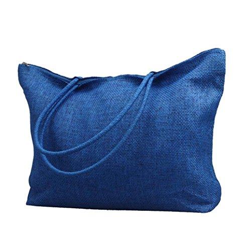 Vovotrade® Le donne di colore della caramella borsa da spiaggia a tracolla grande paglia (Nero) Blu