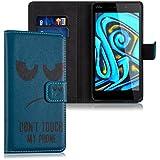 """kwmobile Funda para Wiko Pulp FAB 4G (5.5"""") - Wallet Case plegable de cuero sintético - Cover con tapa tarjetero y soporte Diseño Don't touch my Phone en negro azul"""