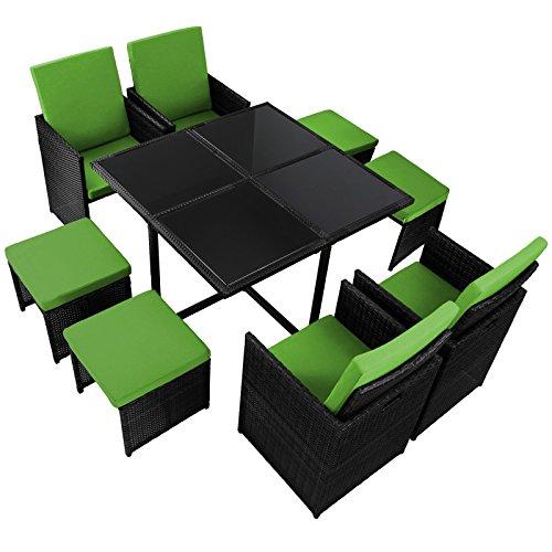 Ventus 17-teilige Luxus Rattan Sitzgruppe BELLINI mit 4 Stühlen, 4 Hockern und 1 Tisch Lounge Set Poly-Rattan inkl. Auflagen und Bezüge Gartenmöbel Gartenset Sitzgarnitur Rattanmöbel große Farbauswahl, Farbe:Titan-Schwarz / Papayagrün