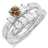 DazzlingRock Collection Damen 1,00 Karat Gold 14K Rund, Prinzessin & Baguette Champagne & Weiss Diamantenring Ring 1 Ct 10