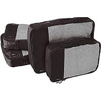 AmazonBasics 4-Piece Packing Cube Set - 2 Medium and 2 Large, Black