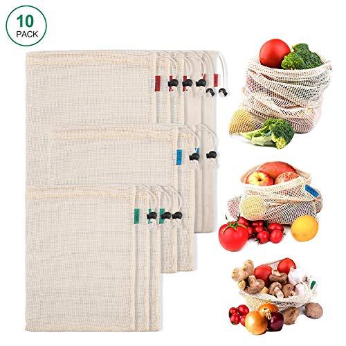 Deyard Wiederverwendbare Taschen aus Natürlicher Bio-Baumwolle Produzierte Einkaufstasche Waschbar umweltfreundlich Für den Obst und Gemüse Einkauf, Lagerung 10 stück -