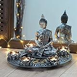 Intrend groß Ø 27 cm Dekofigur Buddha Windlicht + 5 kleine Kerzen und Dekosteine