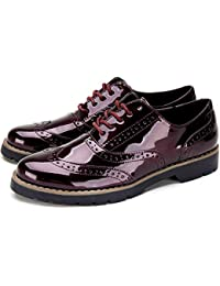 f11e2ee56e2f Ladies Lace-up Oxford Brogue Shoes - Womens PU Patent Leather Shoes