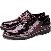 63e48a02a274 Richelieu Femme Brogues Cuir Vernis - Chaussures de Ville à Lacets Derbies  Cheville Travail Bureau Chaussure