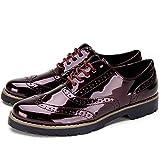 Zapatos de Cordones Oxford Derby para Mujer - Zapatos Brogue Mujer Negro, Zapatos Casual Mujer de Cuero Artificial, Apto para Todas Las Estaciones YKM001-WINERED-38