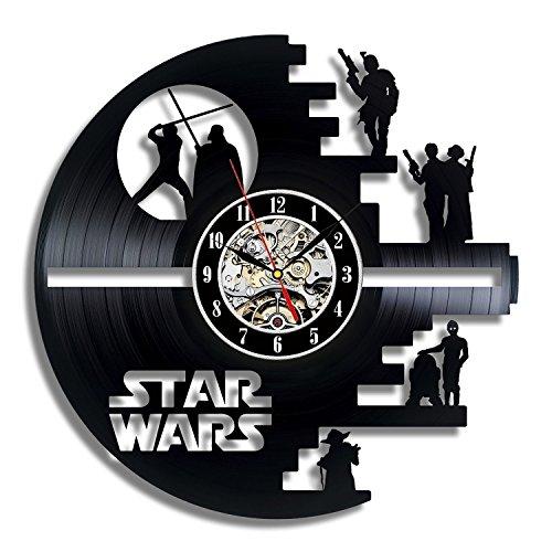 Meet Beauty Vinyl Star Wars Death Star diseñado Reloj de Pared LP Record -Decorate tu hogar con Moderno Grande Darth Vader Classic Vintage Art 30CM Círculo Negro