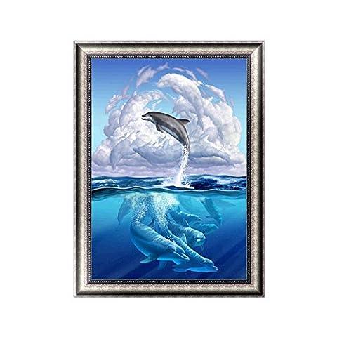 hndhui Delfin Schädel 5D Diamond Stickerei Strass Malerei Kreuz Craft Punkt Décor