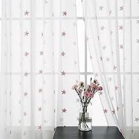 Deconovo Cortinas Salón Moderno Casa Visillo Bordado de Estrella con Ollaos 2 Piezas 140 x 240 cm Blanco y Rosa