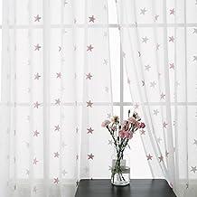 deconovo lot de 2 rideau salon voilage pour chambre enfant fille broderie etoile rose oeillets