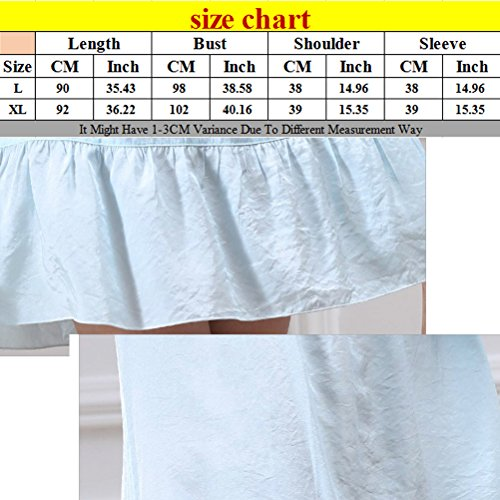 Zhhlinyuan Comfortable Womens Summer Sleep Skirt Pajamas Round Neck Nightwear M5652 Sky Blue