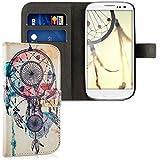 kwmobile Wallet Case Kunstlederhülle für Samsung Galaxy S3 i9300 / S3 Neo i9301 - Cover Flip Tasche in Traumfänger Kleckse Design mit Kartenfach und Ständerfunktion in Mehrfarbig Blau Weiß