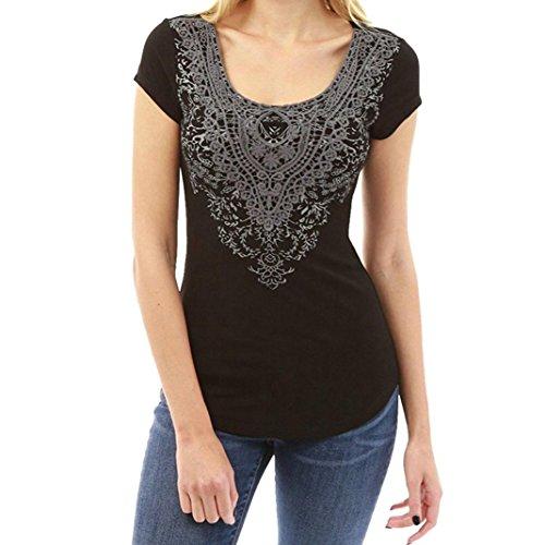 ESAILQ Damen Sommer T-Shirt Casual Streifen Patchwork Kurzarm Oberteil Tops Bluse Shirt(M,Schwarz) (Hemd Soda Streifen)