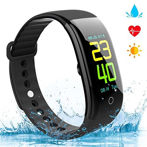 EJIKER Fitness Armband mit Pulsmesser Wasserdicht IP68 Fitness Tracker Farbbildschirm Aktivitätstracker Schrittzähler Smart Armbanduhr Vibrationsalarm Anruf SMS Whatsapp Kompatibel mit iPhone Android