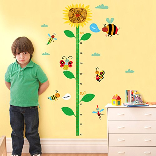 Beauty360 Kid Growth Chart Wall Sticker Height Chart Measure Decorations Growth Chart for Children Full Design Set Easy Steps 78x130cm Sunflower Butterfly Pattern Environmental Protection PVC Material