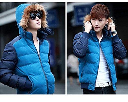LaoZan Hommes Veste à capuche Slim Fit Chaud Parka Veste Manteau d'hiver Fourrure Faux Lumière Bleu foncé