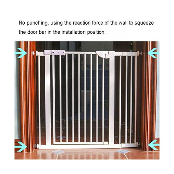 Child Safety Gate Pet Gate Punch-Free Automatic Locking Stairs Fence Small Pets Isolation Gate Door Width 71-180CM High 100CM (Size : 174-180CM) Hongsemenlan In order to allow you to buy a doorbar that better suits your needs, please measure your specific size when ordering, then contact our customer service or send us an email to tell us your size. We will customize a suitable fence for you. Features: Punch-free installation, easy to install, does not damage the wall. 90 ° of one side open, two-way door, normally open may be greater than 90 °. Double lock to prevent children mistakenly opened, magnetic locks, automatic door, 52CM free access to the channel. 2