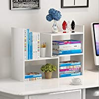 Hossejoy Wood Adjustable Desktop Storage Organizer Display Shelf Rack, Office Supplies Desk Organizer,White