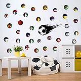 GZZQTT Ballons De Foot Sticker Sport Sports Papier Peint Pays Signe Décor À La...