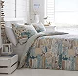 SINGLE BED DUVET COVER SET DRIFTWOOD MULTI SEA SIDE ANCHOR SEA HORSE STAR FISH REVERSIBLE