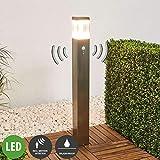 Lampenwelt LED Außenleuchte 'Baily' mit Bewegungsmelder (spritzwassergeschützt) (Modern) in Alu aus Edelstahl (1 flammig, A+, inkl. Leuchtmittel) - Wegeleuchte, Pollerleuchte, Wegelampe, Sockelleuchte
