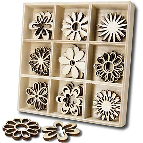 JHYQ-DE 45 PCS hölzern Verzierungen Sets,Scrapbooking,holzherzen Holz Box für Handwerk,DIY Dekoration(Blumen)