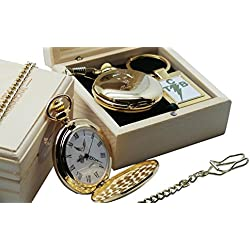 Signed Elvis Presley Gold Pocket Watch Full Hunter AND TCB Keyring 24 Carat Gold plated in Luxury Wooden Box Presentation Case