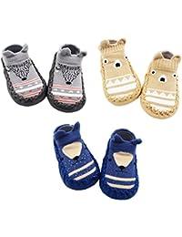 Z-Chen 3 Paire de Chaussons Chaussettes Antidérapantes pour Bébé