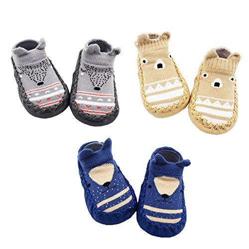 Z-Chen 3 Paar Lauflernschuhe Krabbelschuhe ABS Socken Babyschuhe Antirutsch, Grau + Braun + Dunkelblau, 12-18 Monate