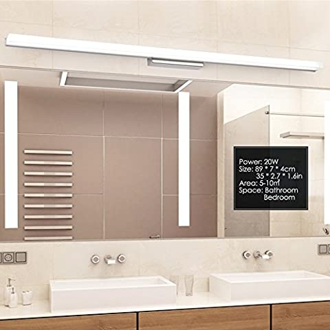 Hochwertige Edelstahl LED Spiegel Lampe Wasserdicht Anti-Fog Badezimmer Lampe Moderne & Simplicity Wandleuchte - 35.0*2.8*1.6 in / 20W - Weißes Licht