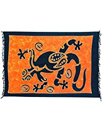Sarong Pareo Wickelrock Loop Schal Tuch Badetuch Strandtuch Rock Gratis Schnalle (Gecko Blau Orange C8)