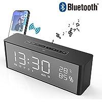 Radio Réveil Bluetooth Haut-Parleur Son Surround 360° Enceinte Bluetooth à LED Luminosité Réglable Affichage pour l'Heure/Électricité/Température avec Bluetooth/Aux/Carte TF/FM/Double Alarme