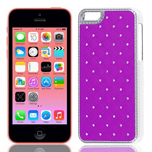 Strass-Dekor stark Fall-Abdeckung Fuchsia für Apple iPhone 5C (Iphone Strass 5c-fällen)