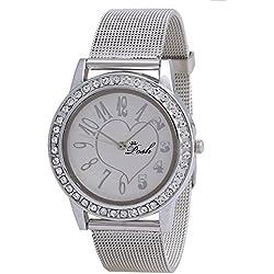 Posh Water Resistant Round Dial Quartz Analog Silver Strap Women's Wrist Watch