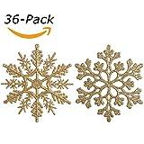 Sea Team Plastic Christmas glitter Snowflake ornamenti decorazioni per albero di Natale, 10,2cm, confezione da 36 Gold