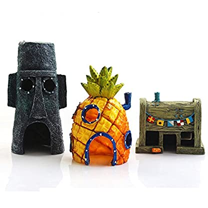 Ishowstore Spongebob Fish Tank Ornament Aquarium Decorations Squarepants Ornaments pineapple house (Pack of 3) 1