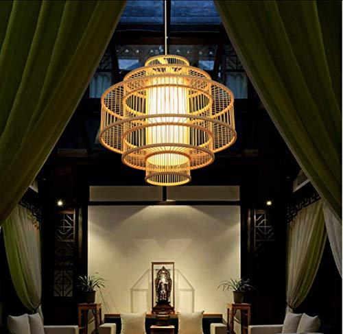 Moderne Creme Wicker Rattan Korb Stil Decke Pendelleuchte Schatten, hergestellt in Bali aus natürlichem Material, Bamboo Art Deckenleuchte, Bambus Lampenschirm Pendelleuchte 50cm * 45cm, E27 -