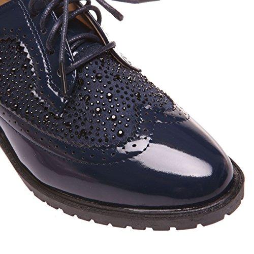 La Modeuse - Derbiesen simili cuir vernis à lacets Bleu