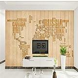 Fototapete 3D Effekt Vliestapete Europäisches Hölzernes Planke Gestreiftes Briefweltkartenwandgemälde Moderne Wanddeko Design Anpassbare Wandbilder